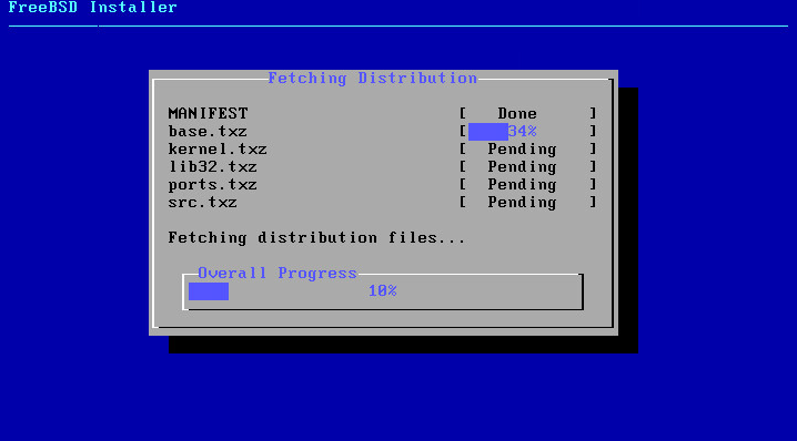FreeBSD 11.0 installer progress bar