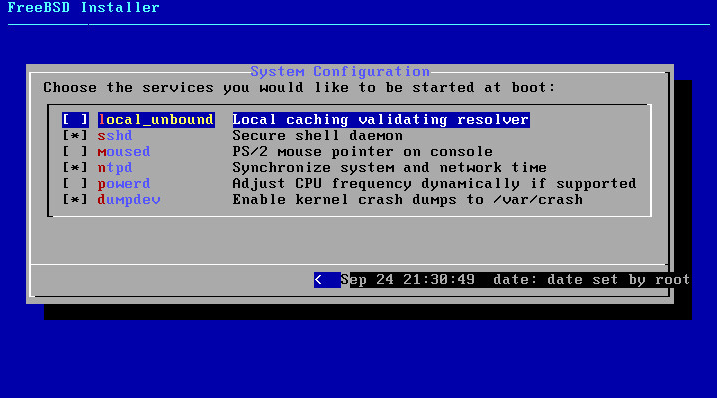 FreeBSD 11.0 installer service selection