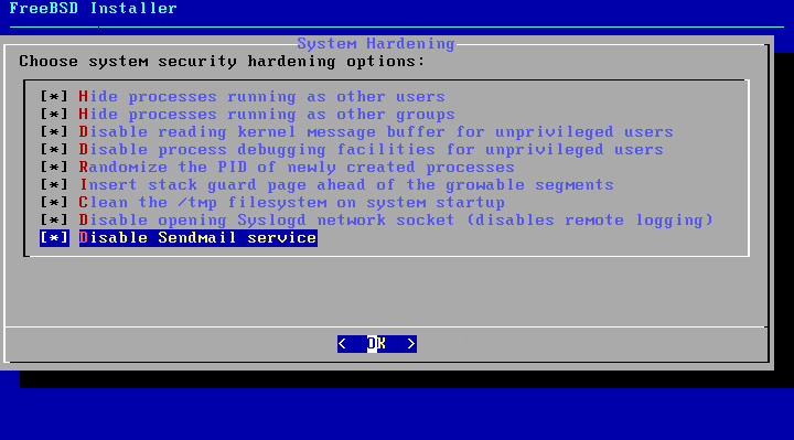FreeBSD 11.0 security hardening screen