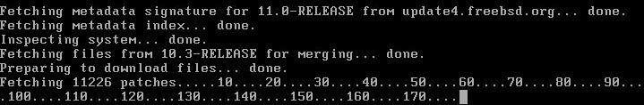 Beginning to download patches to upgrade to FreeBSD 11.0